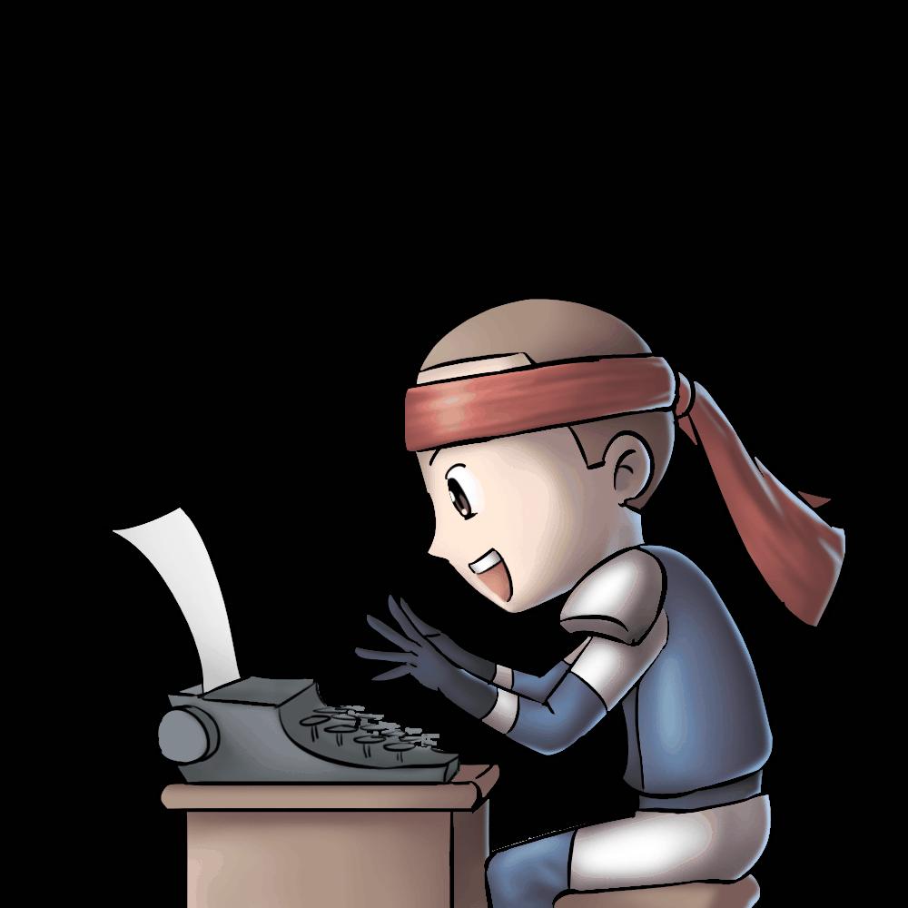 Hero With Typing Machine