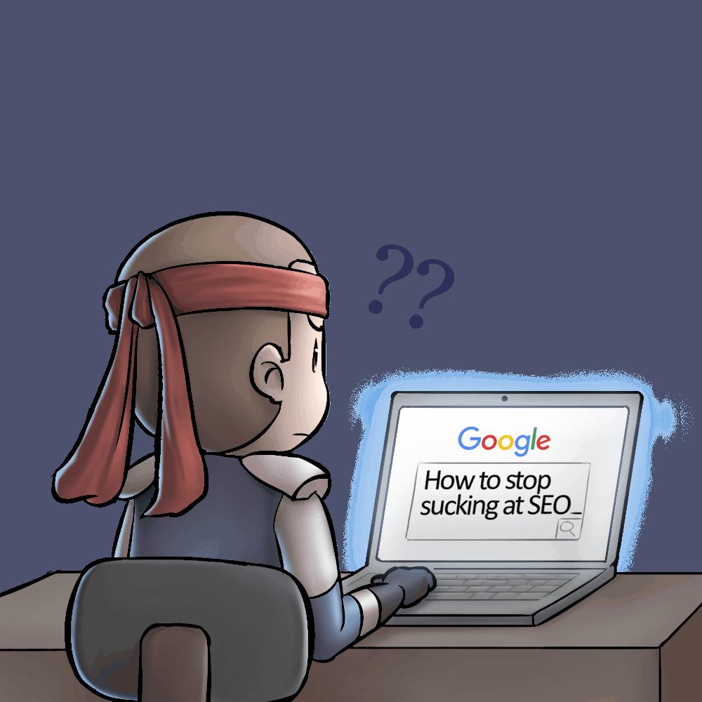 Hero in front of laptop