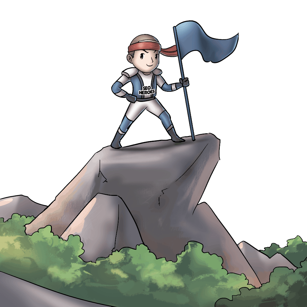 Hero on the top of hill